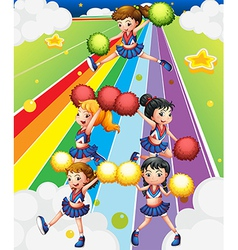 A cheering squad at the colorful street vector image vector image