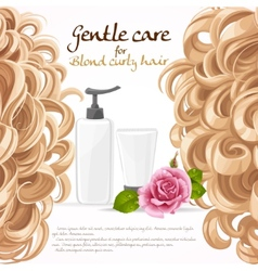 Blond curled hair care background vector image vector image