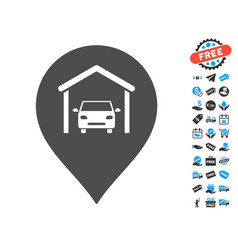 car garage marker icon with free bonus vector image vector image