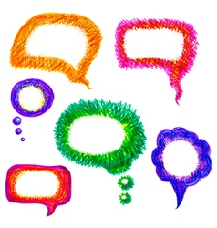 Colorful hand-drawn speech bubble pack vector image vector image