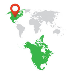 detailed map of north america and world map vector image