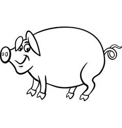farm pig cartoon for coloring book vector image