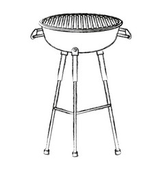 kettle barbecue grill with cover equipment vector image