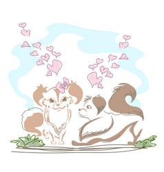 Lovely little doggies in love vector