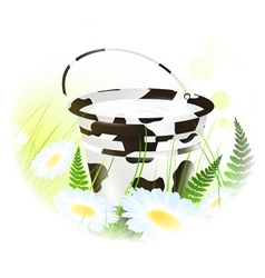Milk bucket at meadow vector