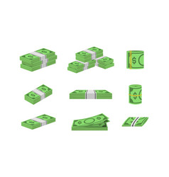 money dollar set packing in bundles of bank notes vector image