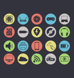multimedia icons set isolated on black vector image