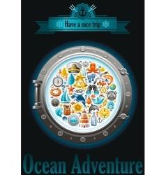 Sea sailing travel poster design on black vector