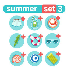 summer holiday icon set beach vacation concept vector image vector image