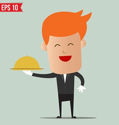 Waiter food service - - EPS10 vector image vector image