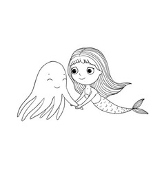 cute cartoon mermaid and octopus siren sea theme vector image vector image