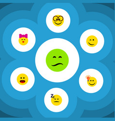 Flat icon face set of frown caress wonder and vector