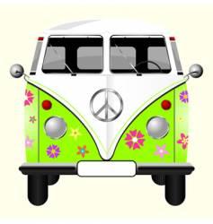 flowered hippie van vector image