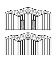 forged gate with doors vector image