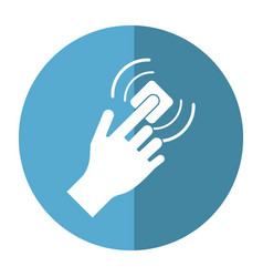 hand touch button wifi graphic button shadow vector image