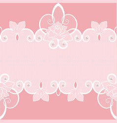 lace seamless pattern with pearls and roses vector image