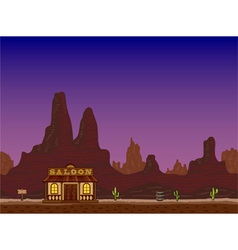 Night canyon with saloon vector image