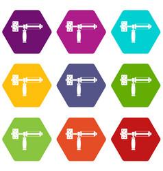 precision grinding machine icon set color vector image