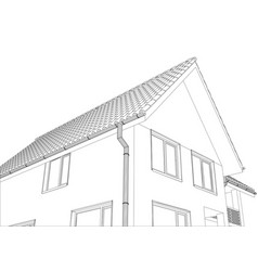 sketch of the cottage with a roof vector image