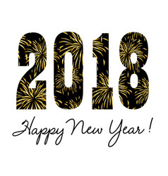 2018 with gold fireworks vector image