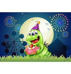 A carnival with a monster holding a cake vector