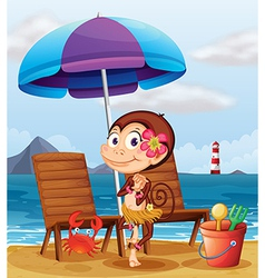 A monkey in a hawaiian attire at the beach vector