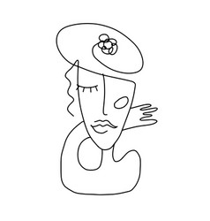 Abstract drawing woman cubism line art vector