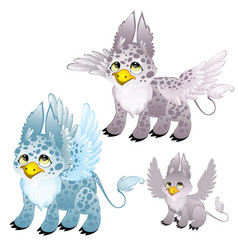 Adult blue and gray griffon and small griffon vector