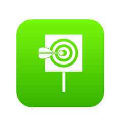 arrow in the center of target icon digital green vector image