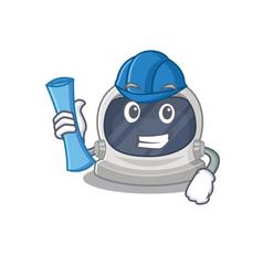 Astronaut helmet brainy architect with blue prints vector