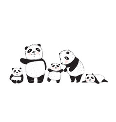 Big family of pandas parents and kids vector