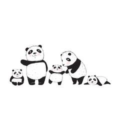 Big family pandas parents and kids vector