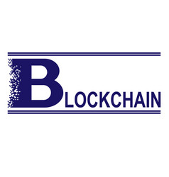 Blue blockchain text vector