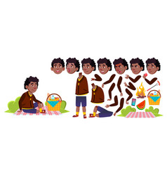 boy schoolboy on picnic black afro vector image