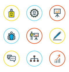 business icons colored line set with id badge vector image