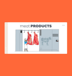 Butchery manufacture industry landing page vector