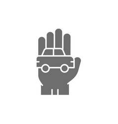 car in hand manual cleaning grey icon vector image