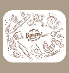 card design with drawn baking vector image