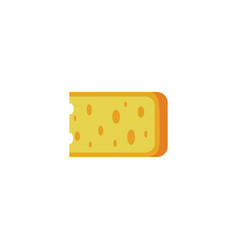 cartoon block yellow cheese isolated on white vector image