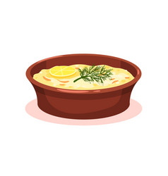 casserole with vegetables and meat moussaka vector image
