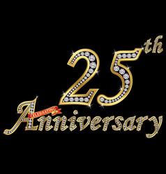 Celebrating 25th anniversary golden sign vector
