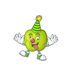 Clown granny smith apple character for health vector