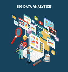 colored big data analytics isometric composition vector image