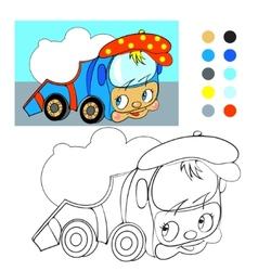 Coloring book Cartoon funny car truck vector image