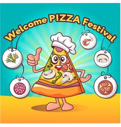comic slice pizza festival concept background vector image