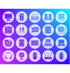 computer shape carved flat icons set vector image