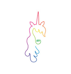continuous rainbow line art of unicorn head vector image