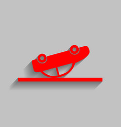 crashed car sign red icon with soft vector image
