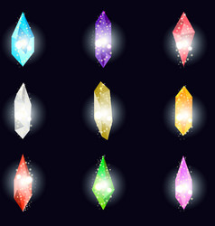 crystals isolated on black background minerals vector image