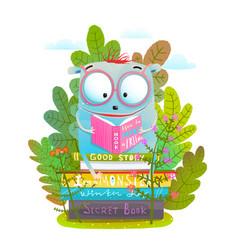 cute monster in eyeglasses reading book vector image